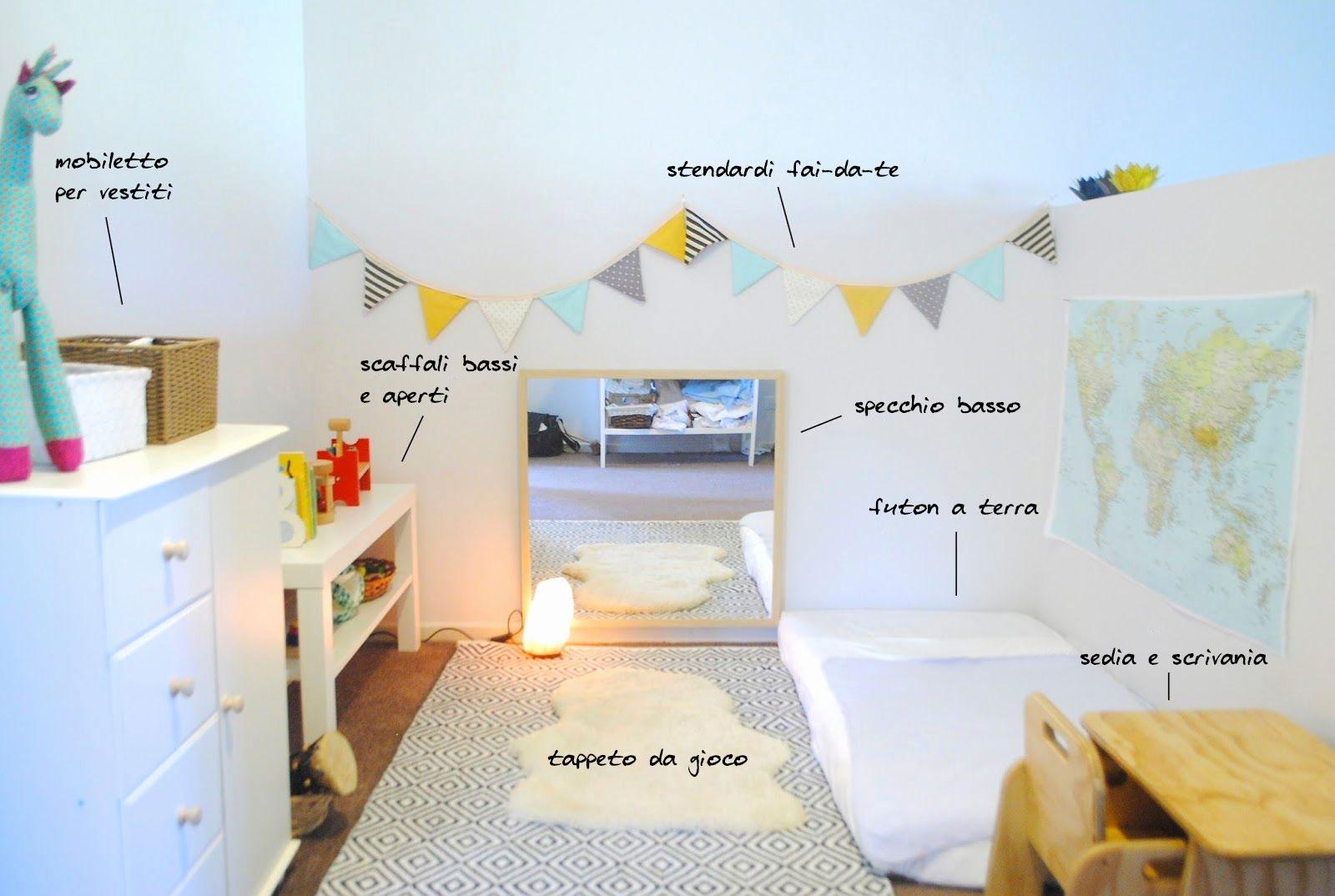 cameretta metodo montessori con futon bambini