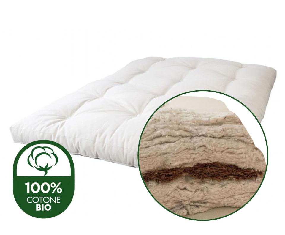 futon materasso cotone biologico certificato e cocco